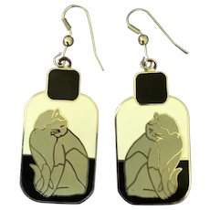 Cloisonné Pierced Cat Earrings