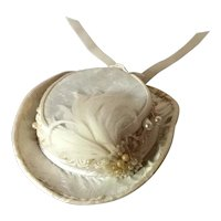 White satin artisan made doll fashion hat