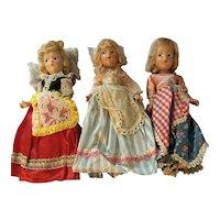 Trio of Composition Dolls in Ethnic European Costume