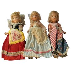 Trio of Composition Dolls in Ethnic European Costume