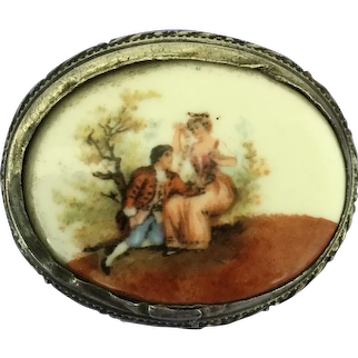 Porcelain Pin with Romantic Scene
