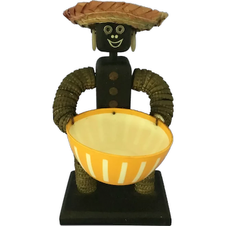 Folk Art Bottle Cap Man Candy Dish