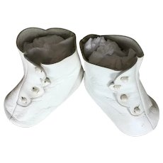 White Leather Larger Doll Shoes Artisan Made