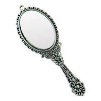 Miniature silver finish doll sized hand mirror