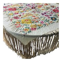 """Square 48""""  Antique Embroidered Table  Covering"""