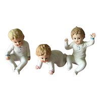 Set of 3 bisque piano babies