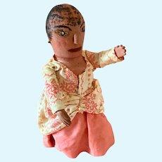 Unusual Wooden  Carved Folk Doll