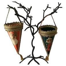 """2 Large 9 """" Victorian Style Christmas Cones"""