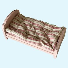 Wooden  pink dollhouse bed with mattress