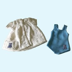 Vintage doll bathing suit and coverup