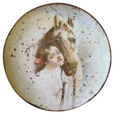 Original Seattle Brewing Company Metal Serving Tray Girl & Horse-1900's