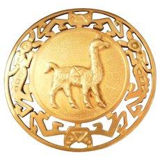 Vintage Peruvian 925 Silver Brooch Pin Llama Symbol-1950's
