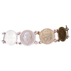 Vintage Silver Pence Coin Bracelet -1900's
