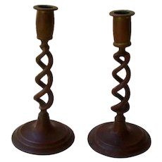 19th Century English Bronze Twisted Stem Candle Sticks