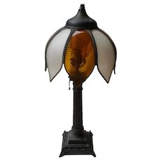 Bronze Table Lamp Swan Base with Original Tulip Curved Glass Shade-1930's