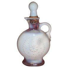 Antique Milk Glass Opalescent Liquor Decanter-1900's