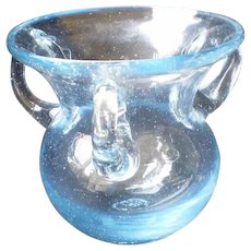 Hand Blown Glass Handled Vase-Light Blue Colour-1940's