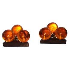 Mid Century Orange Lucite Candlestick Holders-1950's