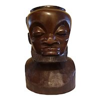 Mid-Century Hand-carved Makonde Bust of an African Male.  African Art