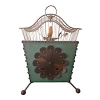 Vintage Mid Century German Clock w/ Caged Singing Bird c1950s