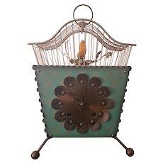 Vintage Mid Century German Clock w/ Caged Singing Bird c1950s
