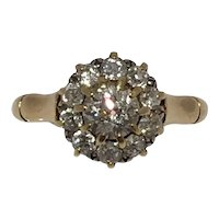 Victorian old mine cut diamond 18ct gold cluster ring