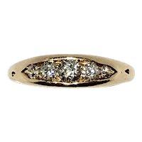 Victorian boat shaped old mine cut diamond 5st ring