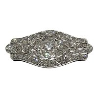 Edwardian platinum and diamond set plaque brooch