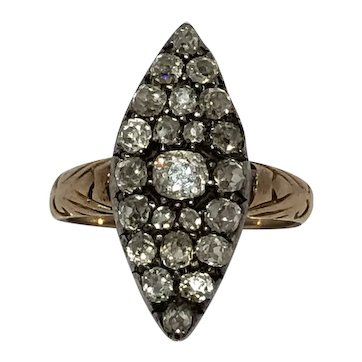 Victorian old mine cut diamond marquis shaped 18ct gold cluster ring