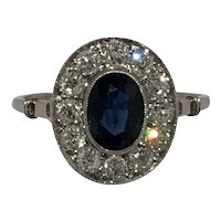 Platinum oval sapphire and old European cut diamond Edwardian cluster ring