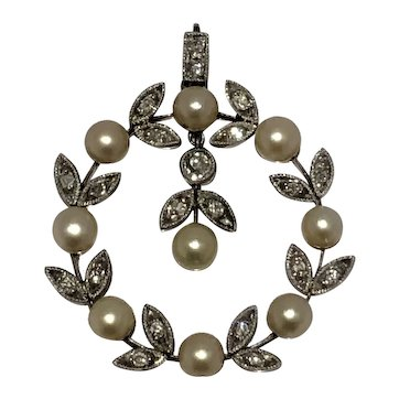 Natural saltwater pearl and old mine cut diamond Edwardian pendant.