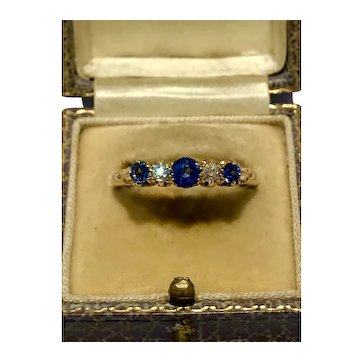 Victorian carved mounting sapphire and old mine cut diamond 5 stone ring