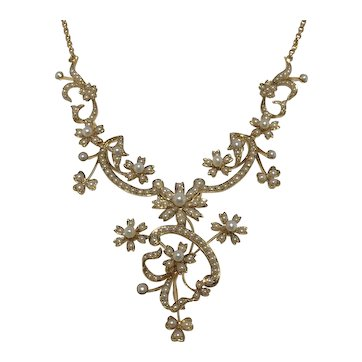 Victorian natural seed pearl and 15ct gold necklace