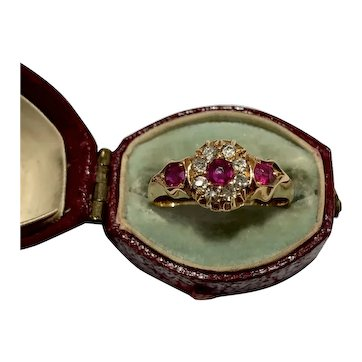 Ruby , old mine cut and old mine cut diamond Victorian 18ct gold cluster ring