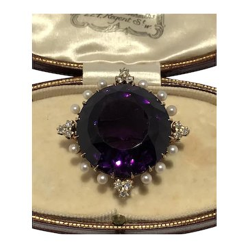 Amethyst old mine cut diamond and natural saltwater peal brooch/pendant