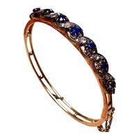 Victorian sapphire, old mine cut and rose cut diamond 15ct gold bangle