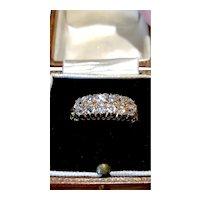 Old mine cut diamond two row Edwardian ring.