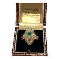 Emerald and old mine cut diamond marquis ring