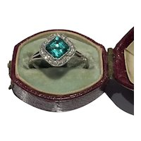 Emerald and diamond Edwardian cluster ring