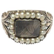 Georgian pearl and hair locket morning ring