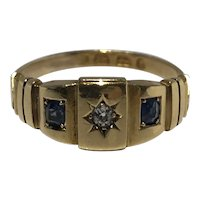 Victorian old mine cut and sapphire 18ct gold ring.