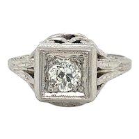 Art Deco Style Diamond Ring in 18 karat