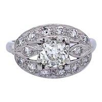 Antique Edwardian Old Mine Cut Diamond Ring in Platinum