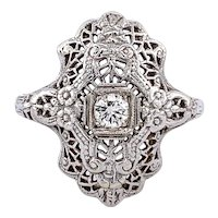 Vintage Diamond Filigree Ring in 14 karat White Gold