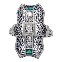 Vintage Diamond and Emerald Filigree Ring in 18 karat White Gold