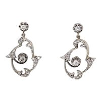 Art Nouveau Diamond Drop Earrings in 14 karat