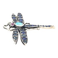 Vintage Dragonfly Pin in 14kt Gold and Sterling Silver
