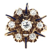 Vintage Diamond and Blue Enamel Ring in 14kt Yellow Gold