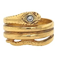 Vintage Diamond Snake Ring in 14kt Yellow Gold