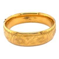 Vintage Gold Filled Bangle Bracelet with Floral Motif